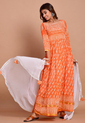 Block Printed Cotton Abaya Style Suit in Light Orange
