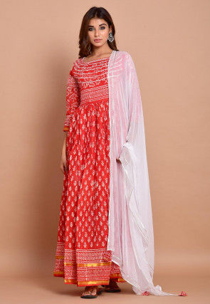 Block Printed Cotton Abaya Style Suit in Red