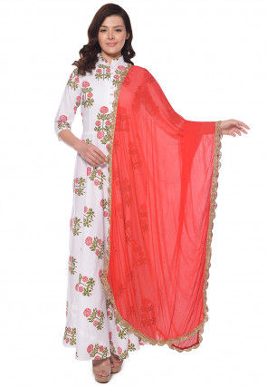 Block Printed Cotton Abaya Style Suit in White