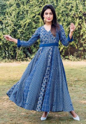 Block Printed Cotton Anarkali Kurta in Indigo Blue