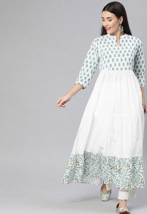 Block Printed Cotton Anarkali Kurta in White