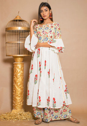 Block Printed Cotton Anarkali Kurta Set in White