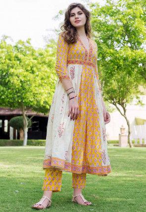 Block Printed Cotton Anarkali Kurta Set in Yellow and White