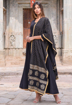 Block Printed Cotton Anarkali Suit in Black