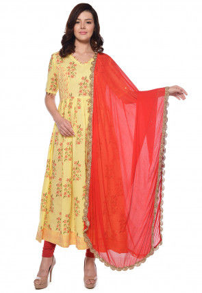 Block Printed Cotton Anarkali Suit in Light Yellow