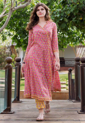Block Printed Cotton Angrakha Style Kurta Set in Pink
