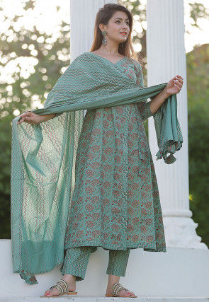 Block Printed Cotton Angrakha Style Suit in Dusty Green