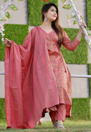 Block Printed Cotton Angrakha Style Suit in Pink