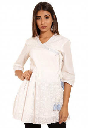 Block Printed Cotton Angrakha Style Tunic in White