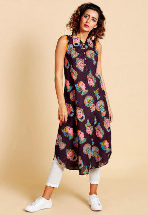 Block Printed Cotton Apple Hem Tunic in Wine