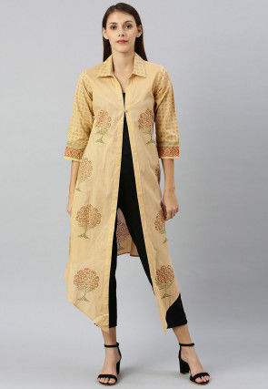 Block Printed Cotton Asymmetric Shrug in Beige