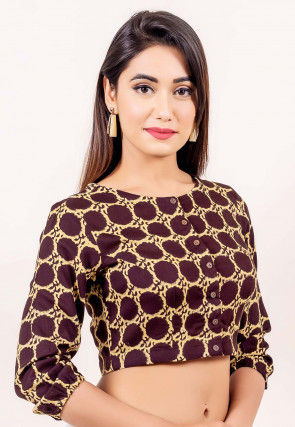 Block Printed Cotton Blouse in Wine and Beige