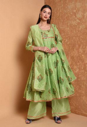 Block Printed Cotton Chanderi Pakistani Suit in Light Green