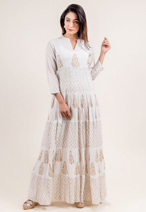 Block Printed Cotton Circular Dress in Off White