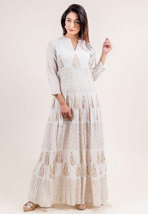 Block Printed Cotton Circular Dress in Off White