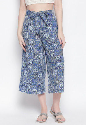 Block Printed Cotton Culottes in Blue