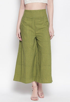 Block Printed Cotton Culottes in Light Olive Green