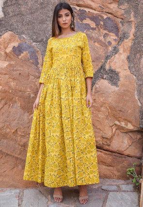 Block Printed Cotton Dress in Yellow