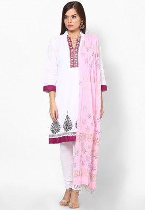 Block Printed Cotton Dupatta in Baby Pink