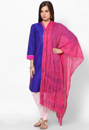 Block Printed Cotton Dupatta in Pink