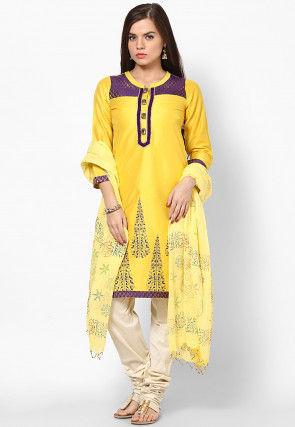 Block Printed Cotton Dupatta in Yellow