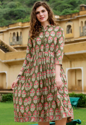 Block Printed Cotton Fit N Flare Dress in Olive Green