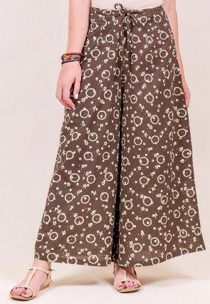 Block Printed Cotton Flared Palazzo in Brown