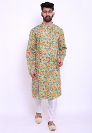 Block Printed Cotton Front Open Kurta in Light Green
