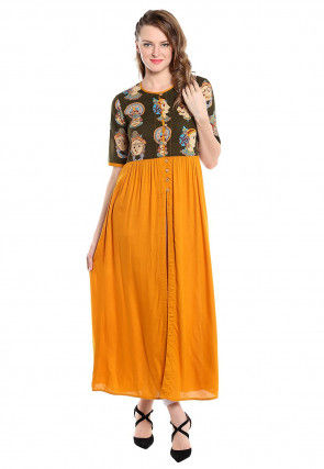 Block Printed Cotton Front Open Kurta in Mustard and Green