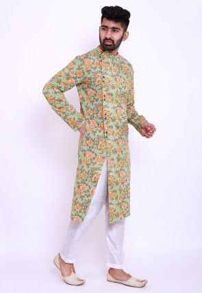 Block Printed Cotton Front Open Kurta Set in Light Green