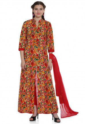 Block Printed Cotton Front Slit A Line Suit in Multicolor
