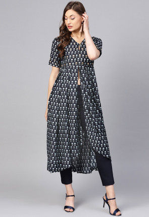 Block Printed Cotton Front Slit Asymmetric Kurta in Black