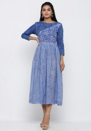 Block Printed Cotton Gathered Dress in Sky Blue