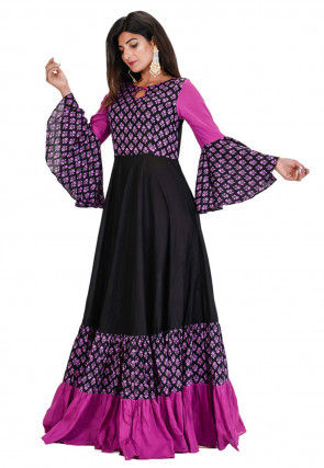 Block Printed Cotton Gown in Black and Purple