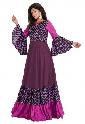 Block Printed Cotton Gown in Purple