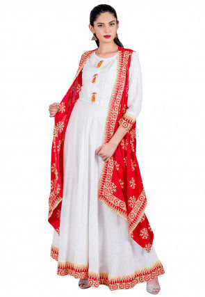 Block Printed Cotton Jacket Style Kurta in Red and White