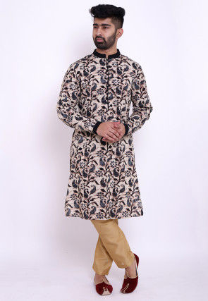 Block Printed Cotton Kurta in Beige