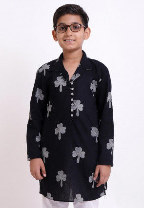 Block Printed Cotton Kurta in Black