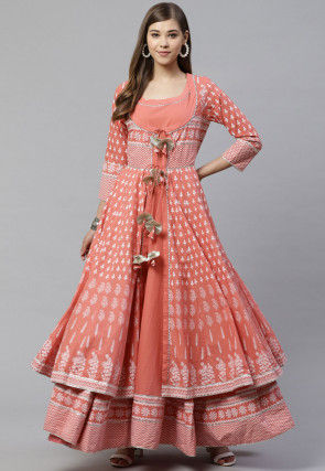 Block Printed Cotton Kurta in Peach