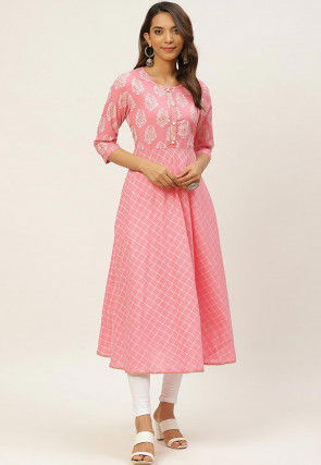 Block Printed Cotton Kurta in Pink