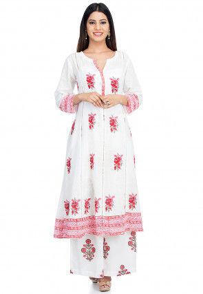 Block Printed Cotton Kurta Set in White