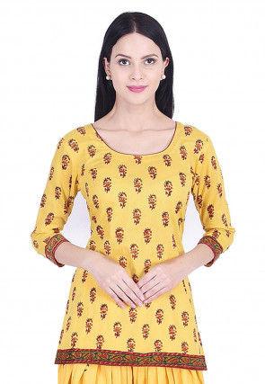 Block Printed Cotton Kurta Set in Yellow