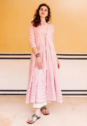 Block Printed Cotton Kurta with Pant in Light Pink