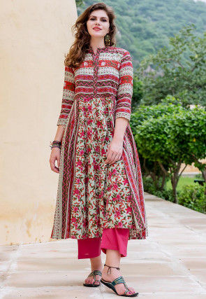 Block Printed Cotton Kurta with Pant in Multicolor