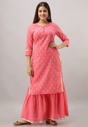 Block Printed Cotton Kurta with Sharara in Coral Pink