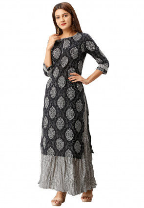 Block Printed Cotton Kurta with Skirt in Black