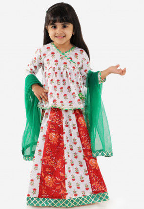 Block Printed Cotton Lehenga in Off White and Red