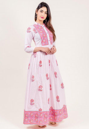 Block Printed Cotton Long Dress in Light Pink