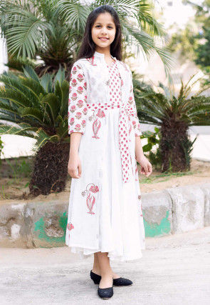 Block Printed Cotton Long Dress in White