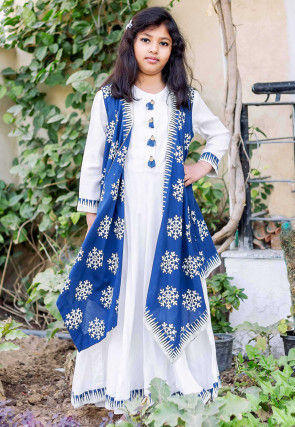 Block Printed Cotton Long Flared Dress with Jacket in White